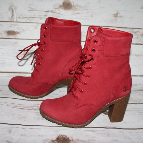 New Timberland Ruby Red Glancy Boots NWT